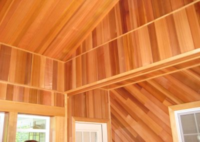 Interior VG Cedar Lumber Vaulted Ceiling